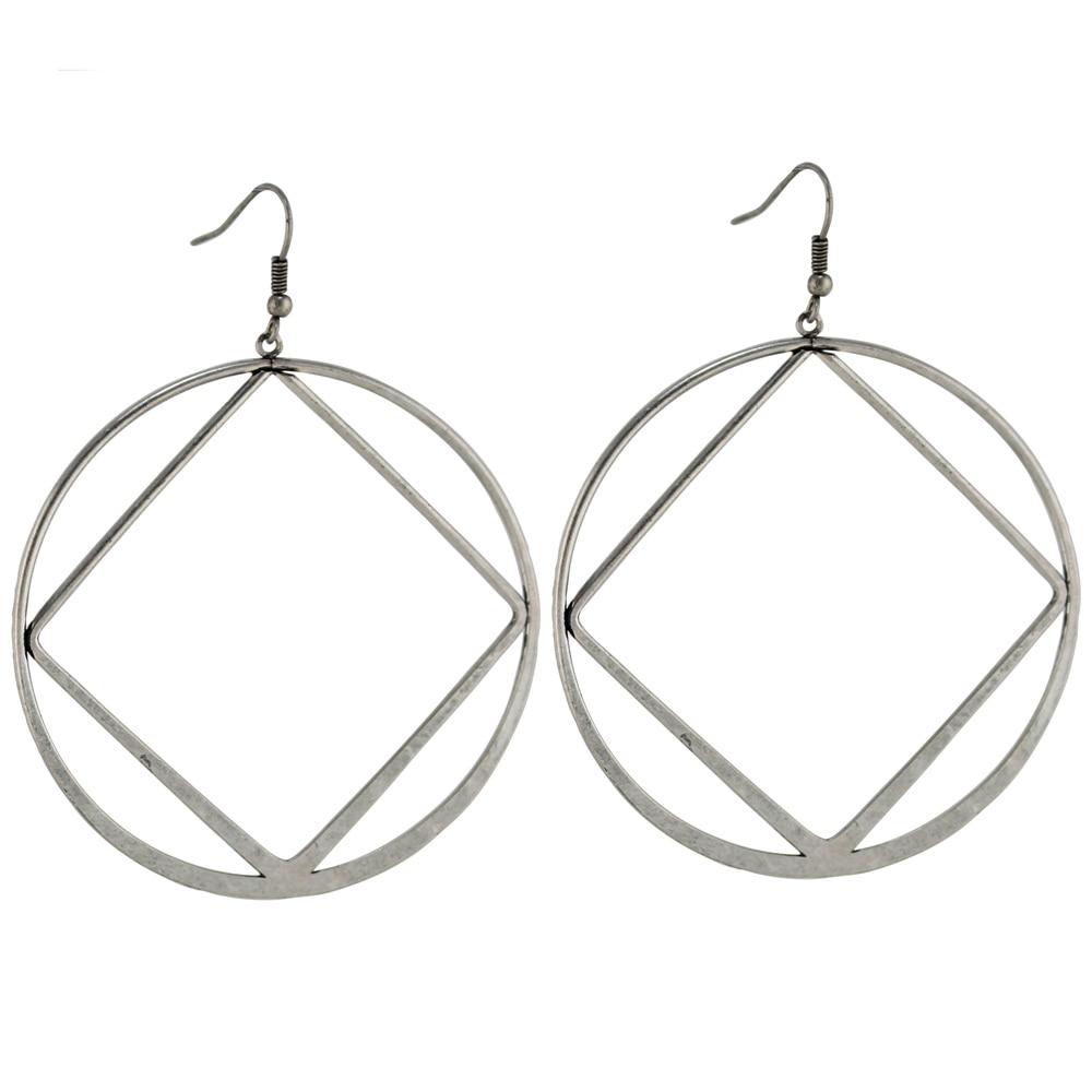 ffcc4dc6aa759 Trusta 2017 Kobiety Moda Srebrny Okrągły 3.1 X 2.4 ZF10 Dangle Kolczyki  Biżuteria Dziewczyna Lady Gift Free shipping