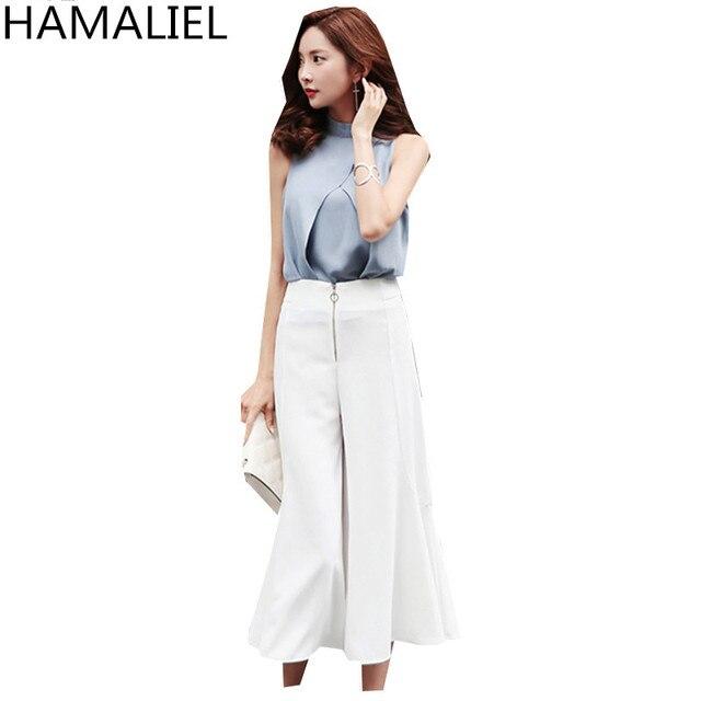 Fashion Business Summer Women 2 Piece Pant Set 2018 Formal Chiffon  Sleeveless Crop Top + Casual White Seven Wide Leg Pants Set cd8d339c5c
