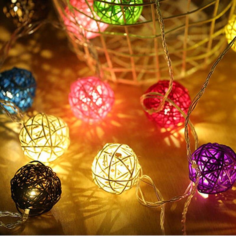 Led Lighting Spirited 20 Rgb Rattan Balls Led Christmas Outdoor String Light Wedding Fairy Holiday Garden Patio Room Decorative Garland Colorful Light