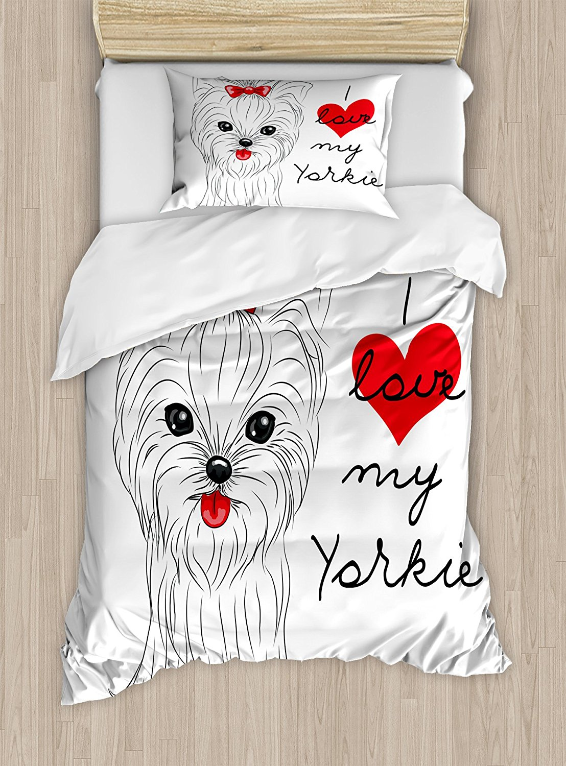 Yorkie Duvet Cover Set I Love My Yorkie Cute Terrier with its Out Adorable Yorkshire Terrier, Decorative 4 Piece Bedding Set ...