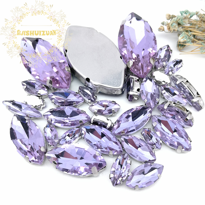 38023704cc Popular!! MIX Crystal violet Horse eye Size Crystal Glass Sew-on  Rhinestones Silver Bottom DIY Women's Dresses and shoes 30pcs