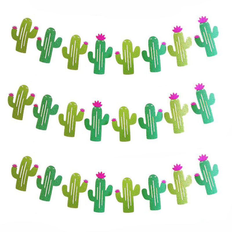 Cactus Party Decoration Glitter Banner Balloon Tropical Summer Supplies Hawaiian Theme Decor