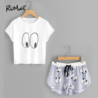 ROMWE Cartoon Eye Print Cute Pajama Set Women Cartoon Funny Tee And Shorts Sleepwear 2017 Summer