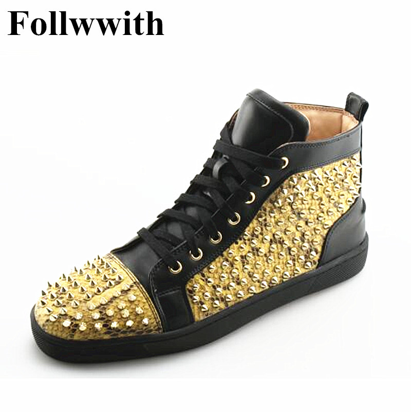 2018 Fashion Hot Sales Gold Rivets Studs Lace Up High Top Sneakers Men Casual Shoes Flats Patchwork  Breath Trainers Zapatillas men casual shoes 2017 hot sale patch work canvas shoes lace up flats fashion cut outs design high top male trainers shoes