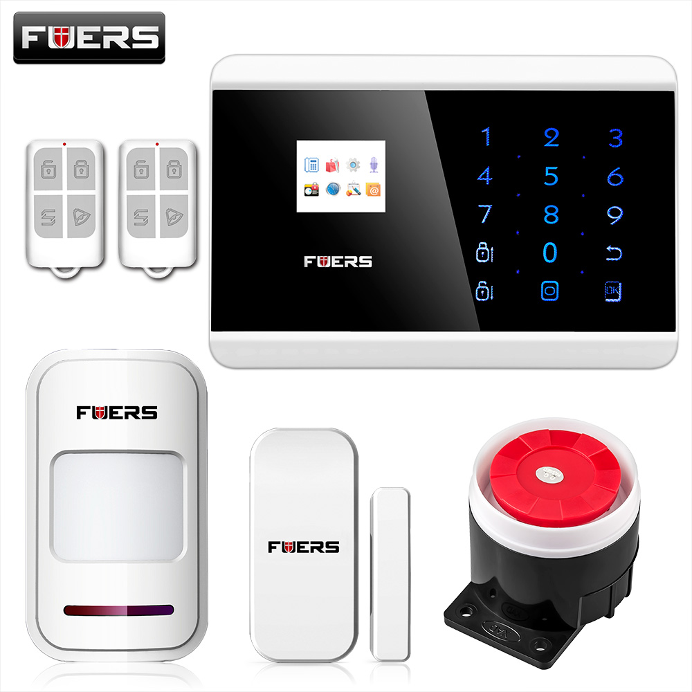 FUERS IOS Android APP Touch Keypad&TFT display 99 Wireless Zone GSM/PSTN/SMS Home PIR Voice Burglar Alarm Security System ios android app lcd smart touch keypad wireless wired gsm pstn quad4 band sms home security voice burglar alarm system auto dial
