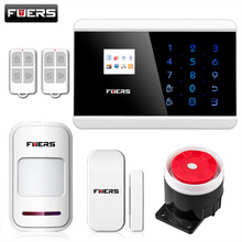 FUERS IOS Android APP Touch Keypad&TFT display 99 Wireless Zone GSM/PSTN/SMS Home PIR Voice Burglar Alarm Security System