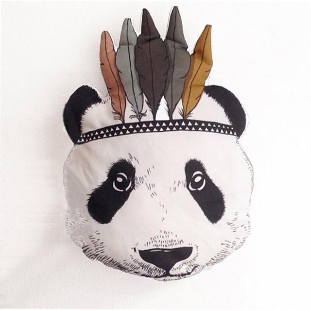 Mode Panda Visage Coussin Bébé Coton Canapé Oreiller Enfants Berceau Souple En Peluche Jouet Chambre Chaise Décoration Enfants Cadeaux D'anniversaire