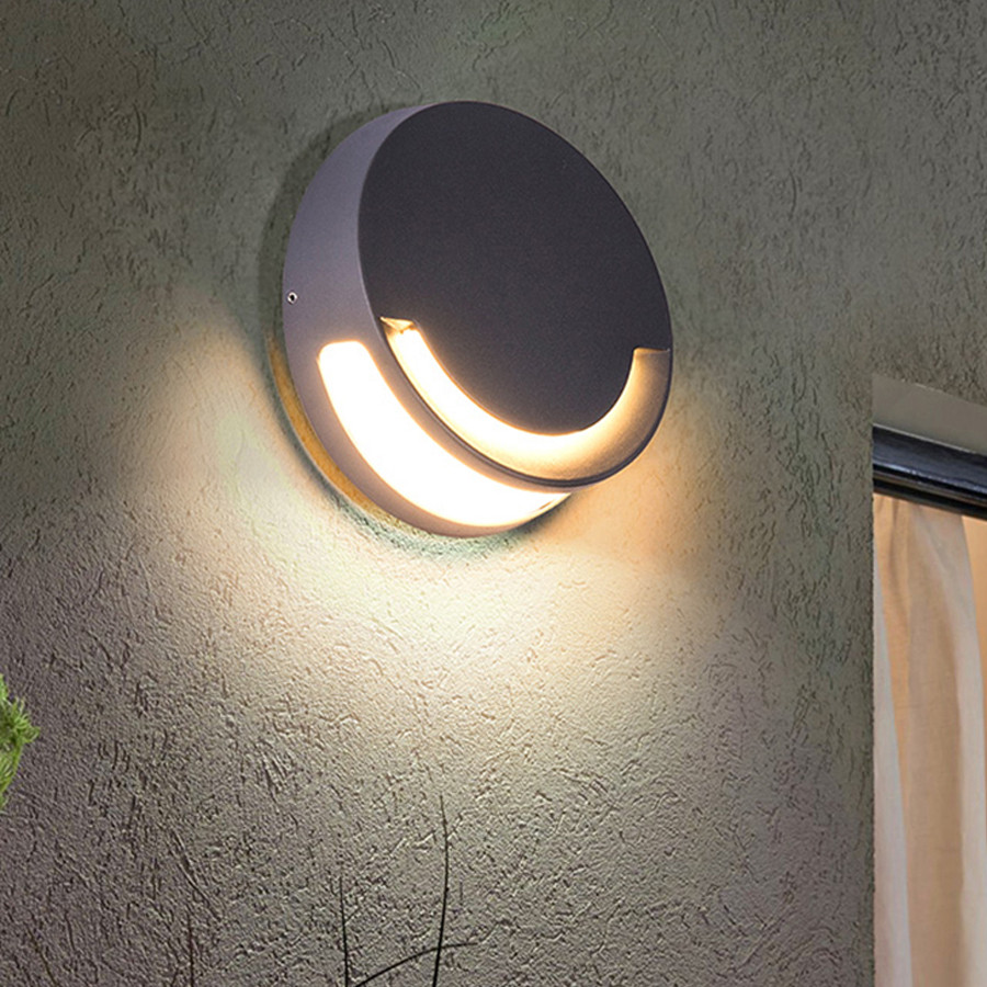 Thrisdar 9W Round Outdoor LED Wall lamp Creative Smile Face Wateproof Porch Wall Light Villa Garden Balcony Corridor Wall LampsThrisdar 9W Round Outdoor LED Wall lamp Creative Smile Face Wateproof Porch Wall Light Villa Garden Balcony Corridor Wall Lamps