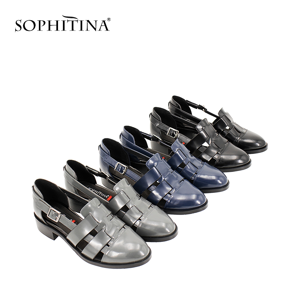SOPHITINA Casual Sandals High Quality Patent Leather Med Thick Heel Buckle Strap Sandals Blue Black Gray Hollow Shoes Women S12 eyki h5018 high quality leak proof bottle w filter strap gray 400ml