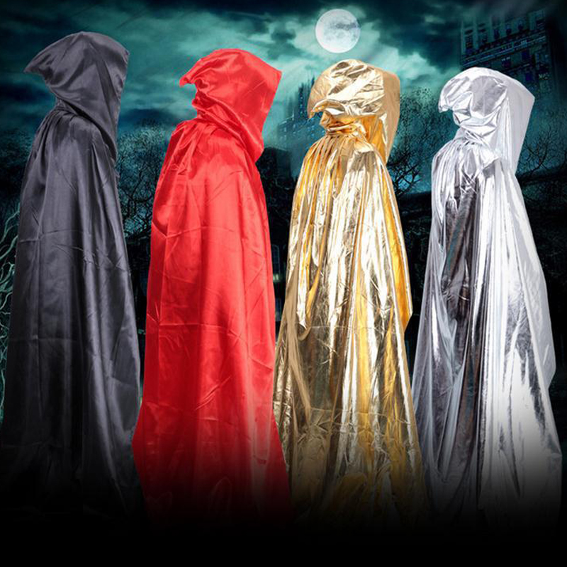 Party & Holiday DIY Decorations Halloween Costume Wizard Cape Mopping Adult Grim Reaper Black Red Silver Golden Cloak