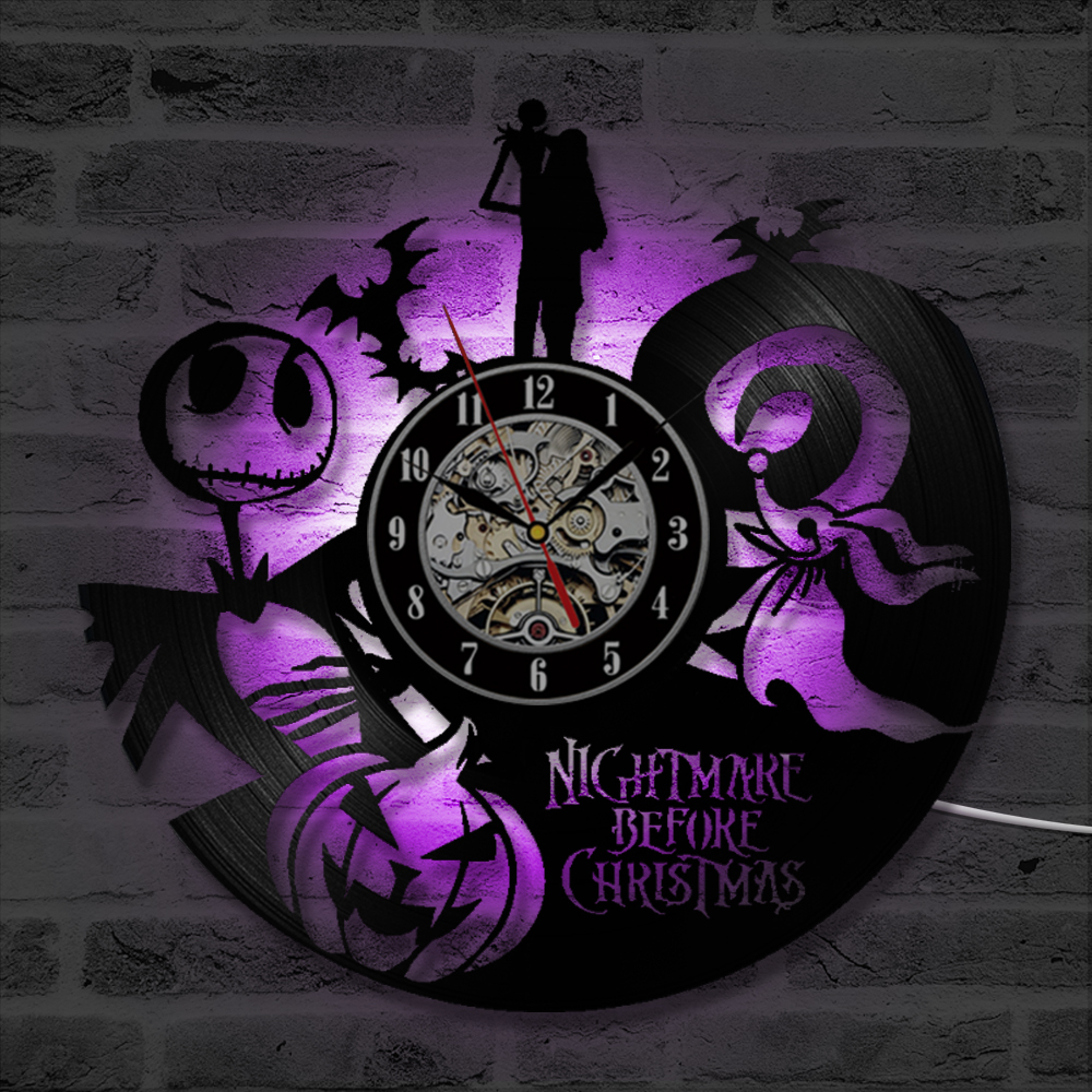 The Nightmare Before Christmas Cartoon Them CD Record Wall Clock ...
