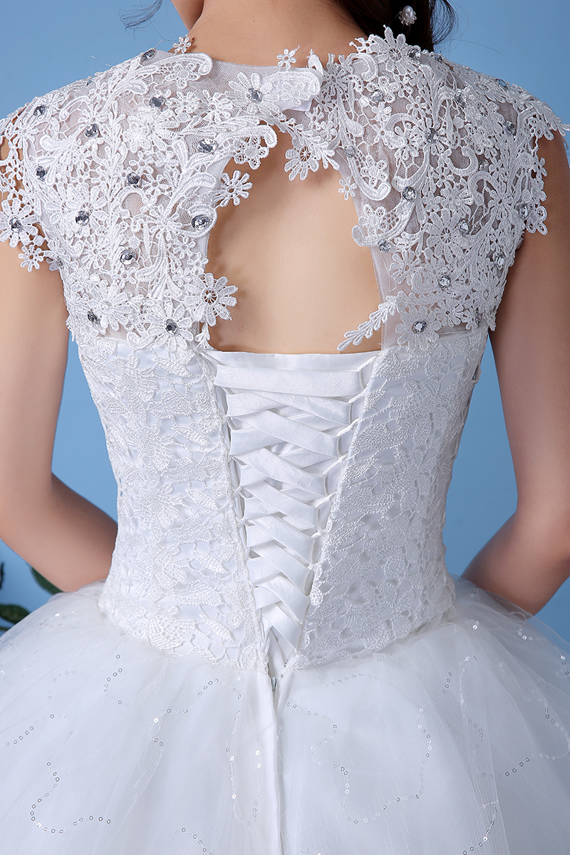 Cheap Customizable White Wedding Dress 2017 Korean Style Lace V Neck ...
