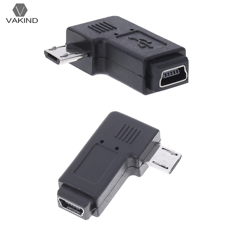 90 Degree Right Angle L Shaped Mini USB Female to Micro USB Male Date Transfer Adapter Charging Converter Connector Black 360 degree rotatable micro usb to usb adapter converter black