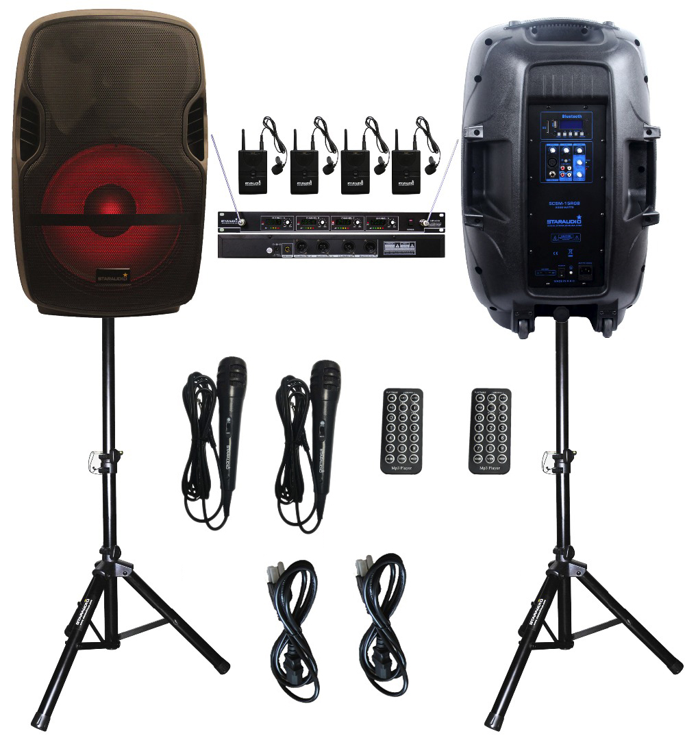2 STARAUDIO SCSM-15RGB KTV Stage Karaoke Powered Active USB 2000W 15PA DJ BT SD MP3 Speakers With LED Light Stand 4CH VHF Mic