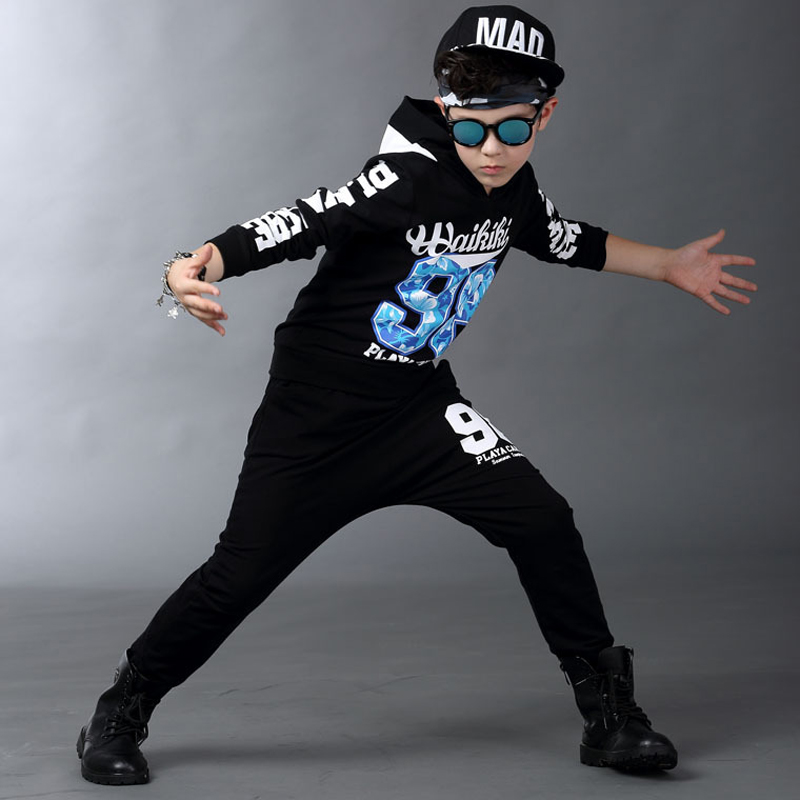 Spring and Autumn Kids clothes kids hip hop clothing Sets Kids Suit Black hooded Long Shirt + Pants Sweatshirt Casual Clothes kids hip hop clothing autumn new boys kids suit children tracksuit boys long shirt pants sweatshirt casual clothes 2 color