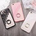 I7 case para iphone 6 6 s 6 6 s plus moda de encaje de flores con anillo stent teléfono móvil case para iphone 7 7 plus suave tpu teléfono cala