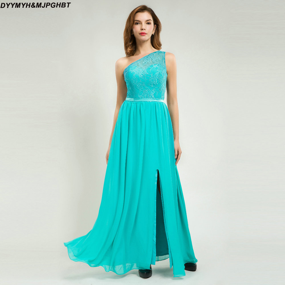 One Shoulder Mint Bridesmaid Dresses Lace Top With Belt