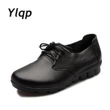 2017 Otoño Nueva Moda de Cuero Genuino Zapatos Planos de Las Mujeres zapatos antideslizantes Zapatos Solid Negro Marrón Suave Mamá Oficina trabajo Embarazadas