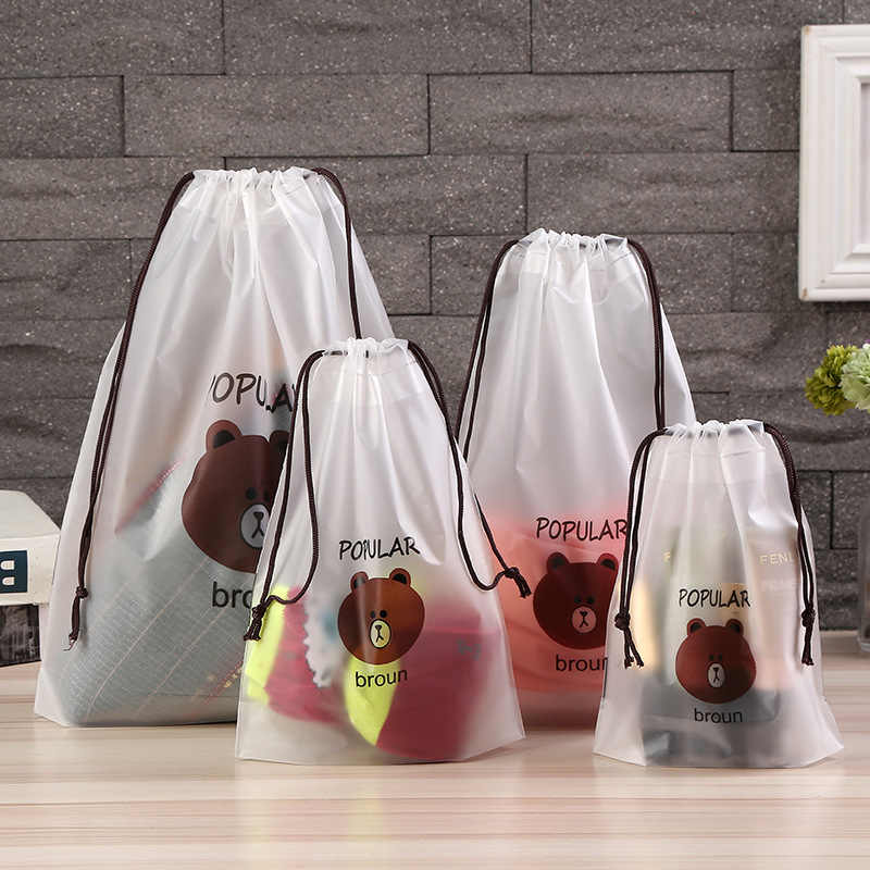 Travel Accessories Drawstring Packing Organizer Cute Brown Bear Transparent Cosmetic Bag Bath Storage Pouch toiletry Bag