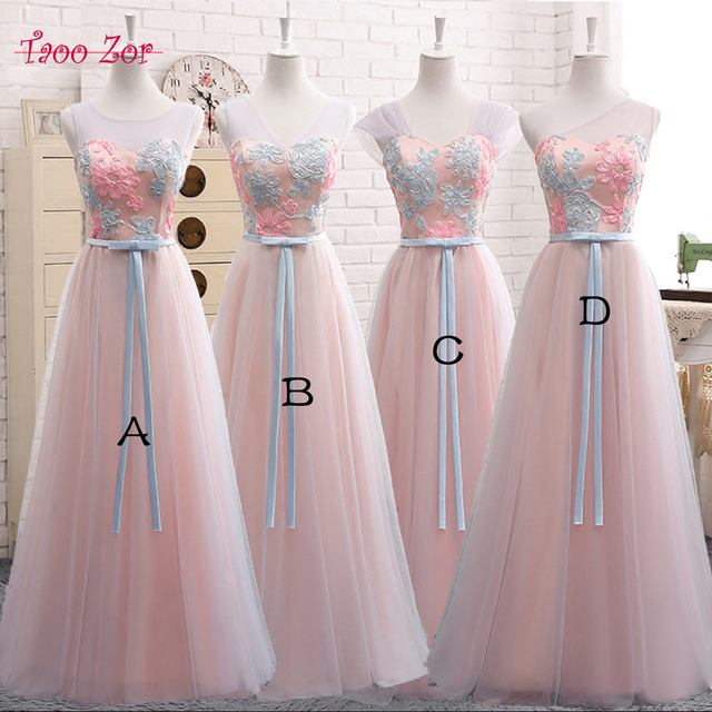 Taoo Zor Stylish Slim Embroidery Flower Long A-line Bridesmaid Dresses 2017  Ribbons Sashes Tulle f1d5efd64d12