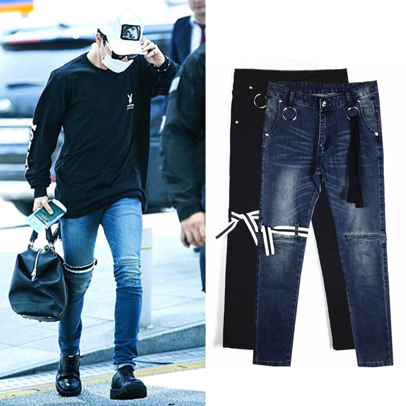 Blackpink 2020 Korean Fashion Slim Jeans Women Casual Straps Stretch Winter Thick Jeans Female New Kpop Streetwear Clothes