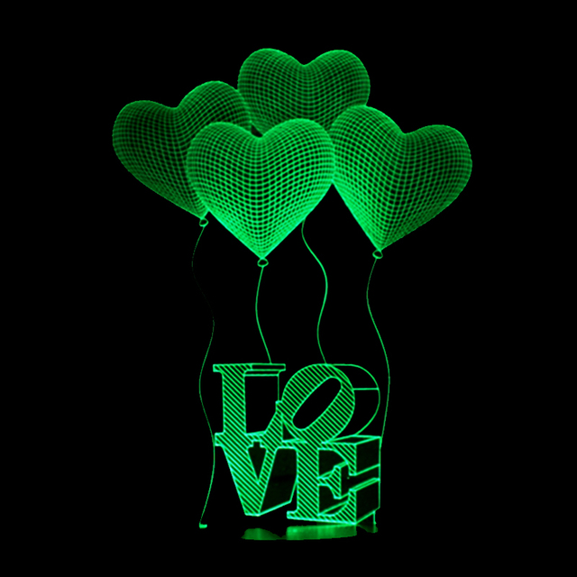 New 3D Visual Bulb Optical Illusion Colorful LED Table Lamp Touch Romantic Holiday Night Light Creative Love Heart Wedding Gifts