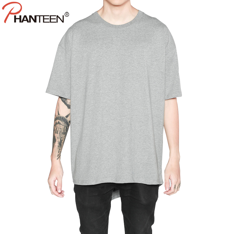 Phanteen Plain Summer Man T Shirts Oversize Longer In The Rear Hiphop Loose  T shirts High Quality Cotton Comfortable Men Tees-in T-Shirts from Men s ... 58654fb6d0c