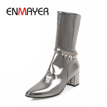 ENMAYER New Arrival Lady basic pointed toe zip ankle boots women square heel high heel boots Big size 34-43 ZYL329 стоимость