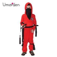 Umorden Fantasia Boys Kids Naruto Ninja Costume Disfraces Halloween Costumes for Children Red Dragon Cosplay