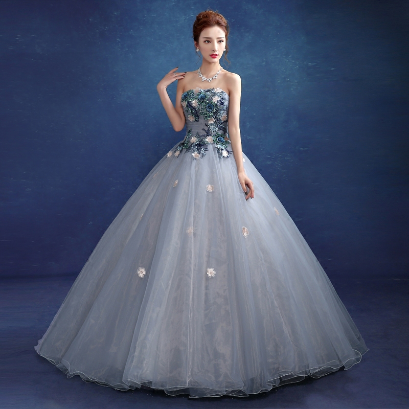Blue Medieval Ball Gown Dresses