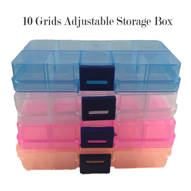 US $1 71 |Aliexpress com : Buy 10 Grids Plastic Storage Box Adjustable  False Nails Jewelry Box Beads Pills Nail Art Organizer Box For Office
