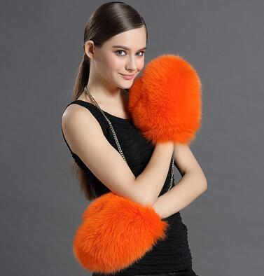 Mode belle vraie fourrure de renard gants, automne hiver chaud boxe Style réel gants de fourrure, chaud thermique gants de fourrure mitaines