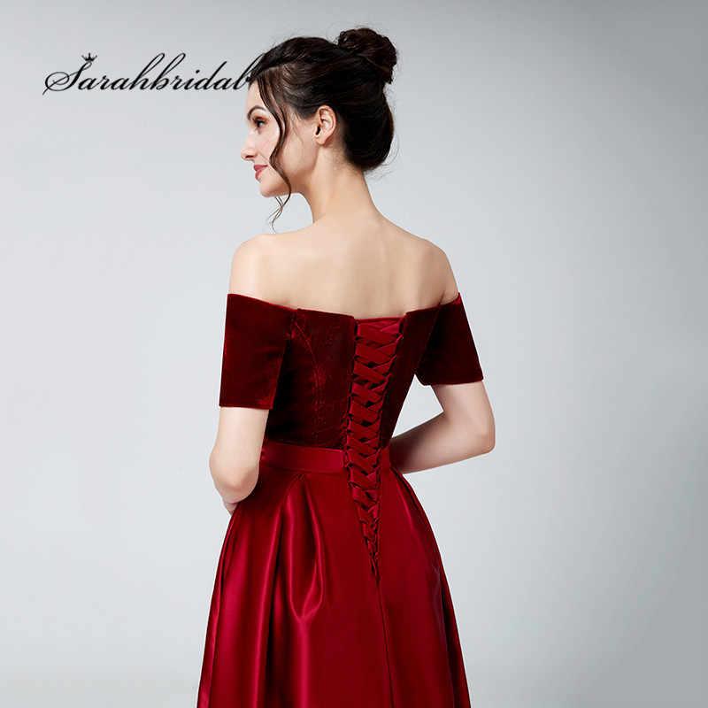 2864965e17 Burgundy Long Evening Dresses Off Shoulder Velvet Top Satin Floor Length  Party Formal Gowns Elegant Lace up Back 3117
