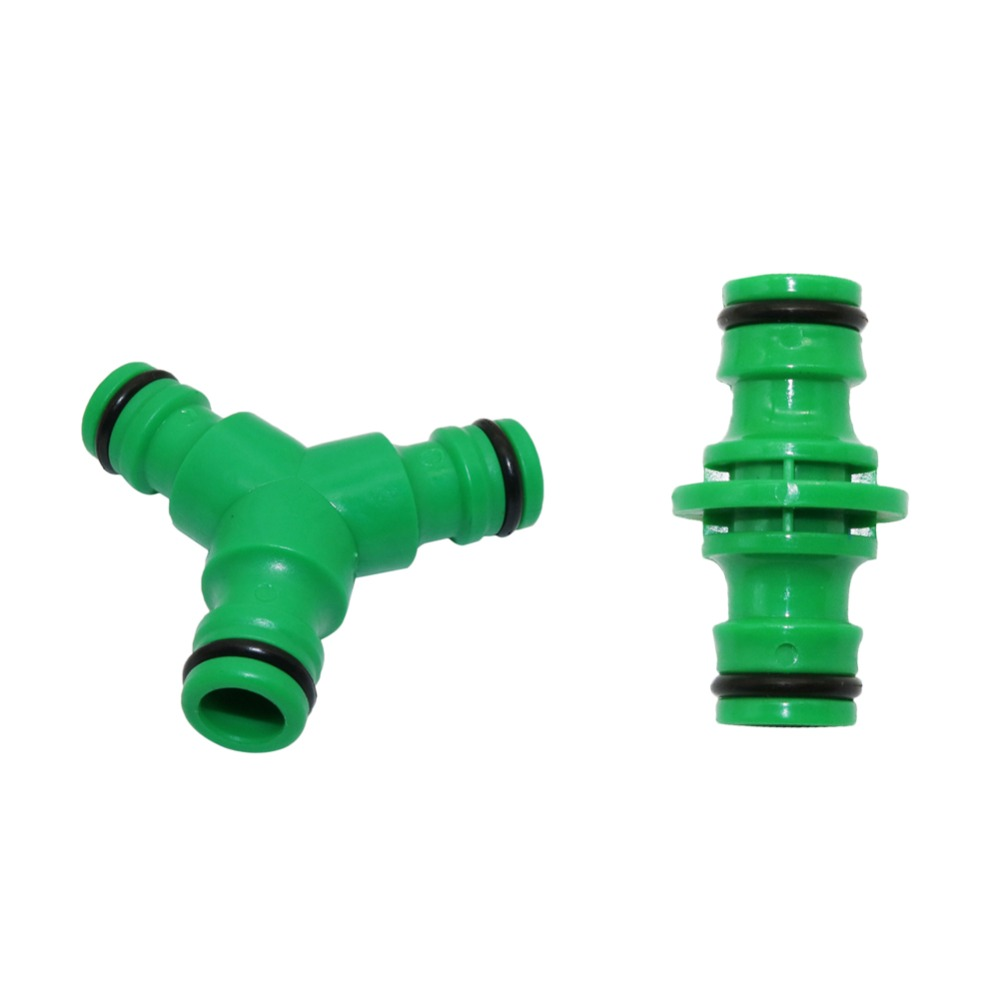 16mm Hose Quick Connectors Straight And Three Way Garden Water Irrigation Connectors 1/2 Inch Pipe Connection Fittings 5 Pcs