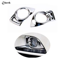 2pcs/set  ABS Chrome For Toyota Highlander 2015 2016  Front Fog Light Foglight Lamp Cover Trims