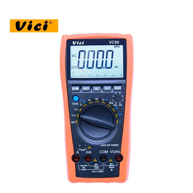 VICI VC99 3 6/7 Auto range digital multimeter 1000V 20A DC AC voltage current Resistance Capacitance tester victor digital multimeter 20a 1000v