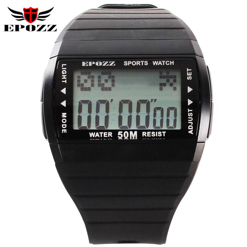 Prix pour EPOZZ Marque Hommes Rectangle LED Numérique-montre Étanche 50 M Mâle Alarme Horloge Chronomètre reloj deportivo relogio masculino 1301