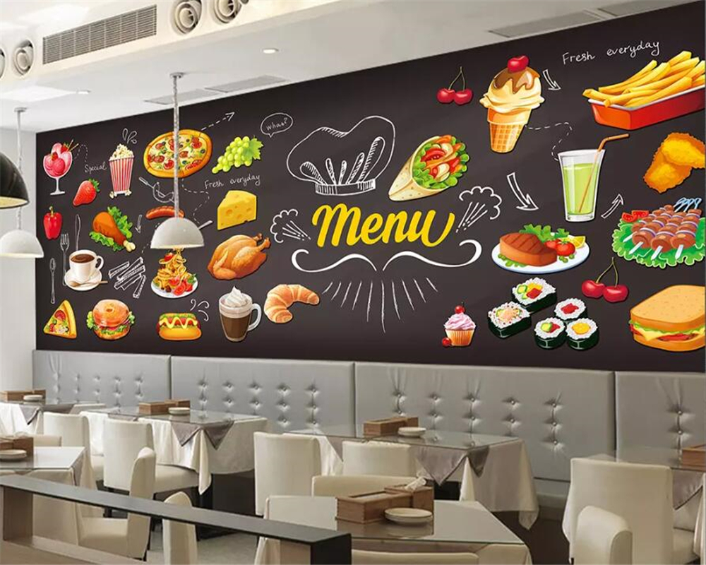 Us 885 41 Offbeibehang Custom Wallpaper Hd Hand Painted Western Restaurant Burger Pizza Chicken Wings Fast Food Restaurant Wall 3d Wallpaper In