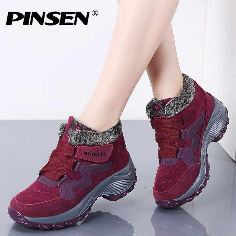 PINSEN New 2019 Women Snow Boots High Quality Winter Warm Push Ankle Boots Women Platform Female Wedge Waterproof Botas Mujer