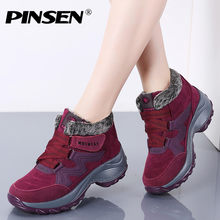 PINSEN New 2019 Women Snow Boots High Quality Winter Warm Push Ankle Boots Women Platform Female Wedge Waterproof Botas Mujer(China)