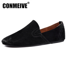 2017 Brand Mens Loafers Moccasins Slip-on Breathable Charm Men Shoes Casual Fashion Round Toe Brown Flats Leather Boat Hot Sale