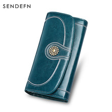 SENDEFN Vintage Patent Designer Purse Retro Oil Wax Leather Purse Women Long Quality Large Capacity Womens Wallets 5126-77(China)
