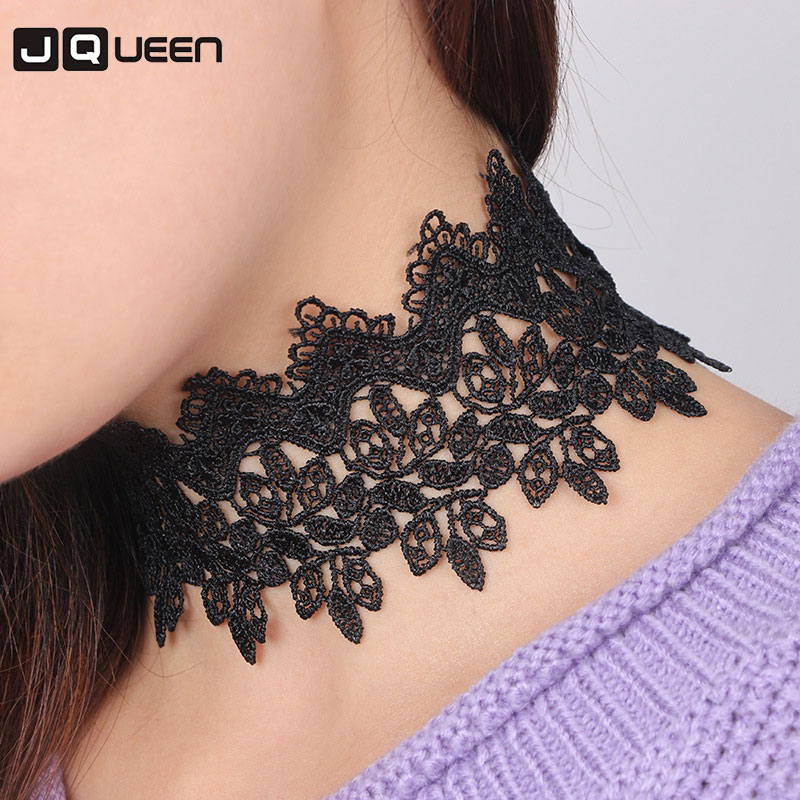New Sexy Black Lace Choker Necklace For Women Vintage Lace Chokers Wide Chocker Jewellery Accessories