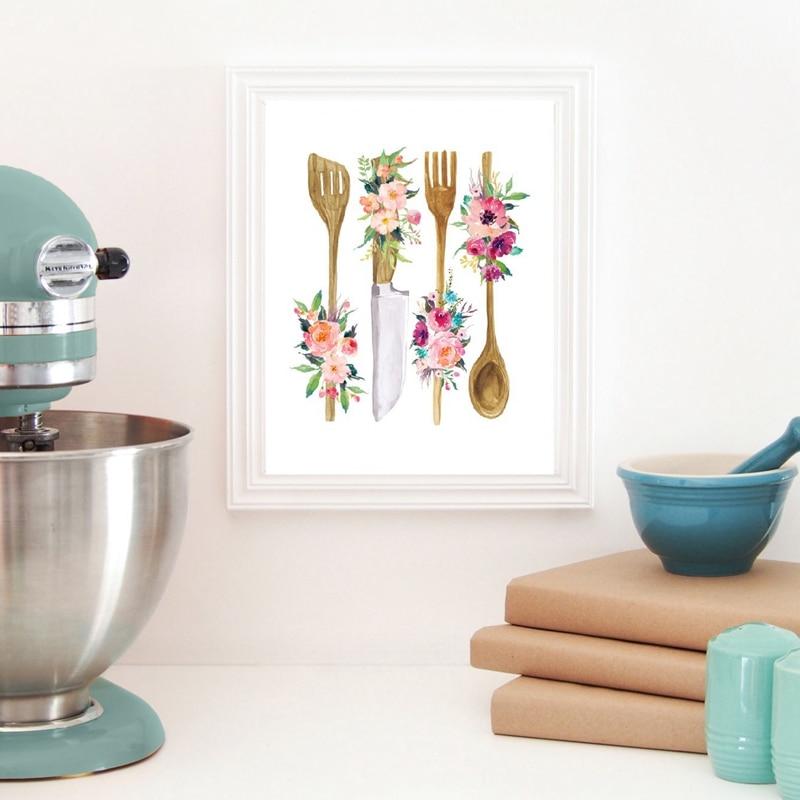 Floral Kitchen Utensil Print
