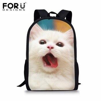 Forudesigns 귀여운 3d 동물 고양이 인쇄 학교 배낭 학생 어린이 여성 패션 캔버스 배낭 키즈 mochila 배낭