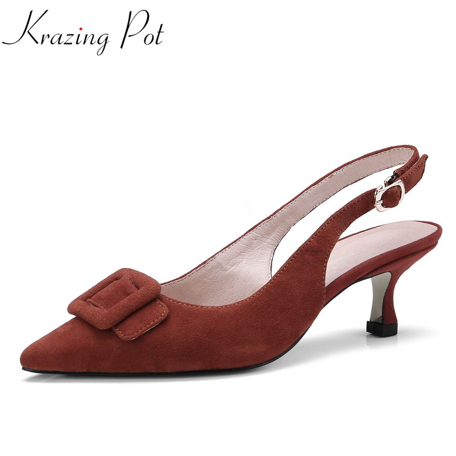 Krazing Pot mature office lady med heels kid suede solid buckle strap slingback pointed toe elegant nightclub pumps shoes L08 shofoo 2017 new arrive women mature med heels pointed toe buckle strap pumps dress