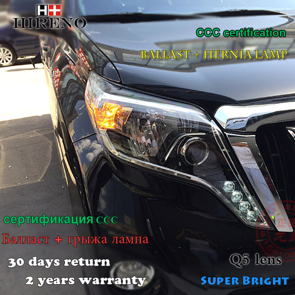 Hireno Headlamp for 2014-2016 Toyota Land Cruiser Prado Headlight Assembly LED DRL Angel Lens Double Beam HID Xenon 2pcs brake master cylinder assembly for toyota 4runner land cruiser prado 47028 60010