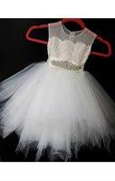 Vestido Comunion Blanco Hot Sale Sleeveless Ivory Tulle Girls Ball Gowns Beading Modern Sashes Flower Girls