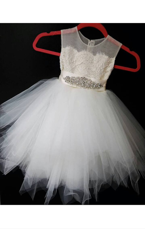 Vestido Comunion Blanco Hot Sale Sleeveless Ivory Tulle Girls Ball Gowns Beading Modern Sashes Flower Girls Dresses For Weddings