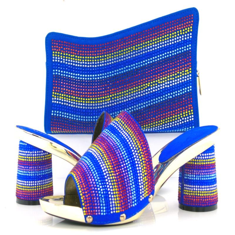Royal blue KL813 98 New Arrival Elegant Italian Shoes and Bag Set Matching Fashion Dress Shoes